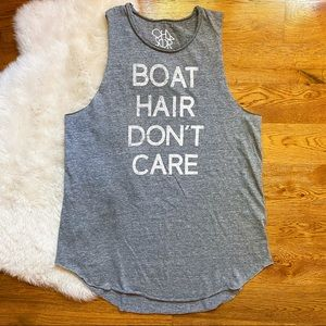 Chaser Gray Boat Hair Don't Care Graphic Tank